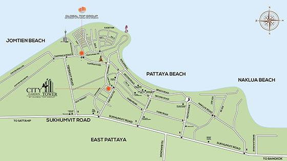 Garden Tower Pattaya Map