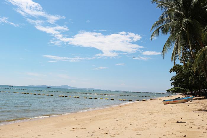 有海滩景色的游泳池