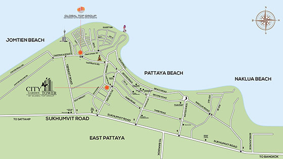 Garden Tower Pattaya Map